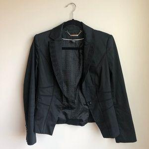 White House Black Market Black Ruffle Blazer sz 2
